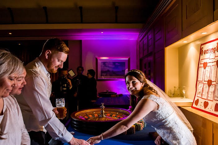 bride interacting with fun casino